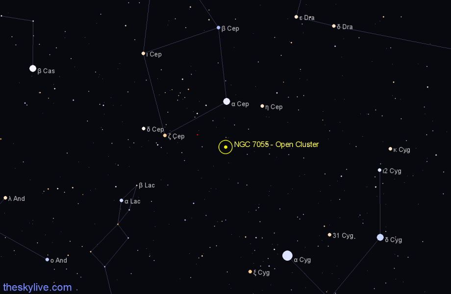 Finder chart NGC 7055 - Open Cluster in Cepheus star