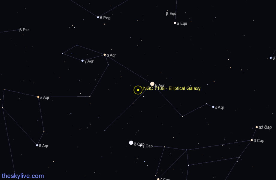 Finder chart NGC 7108 - Elliptical Galaxy in Aquarius star