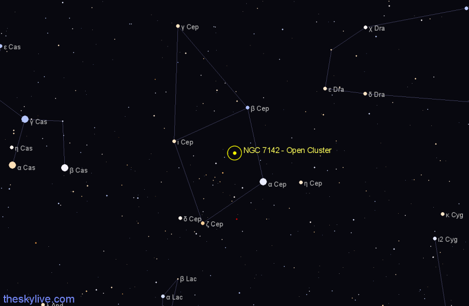 Finder chart NGC 7142 - Open Cluster in Cepheus star
