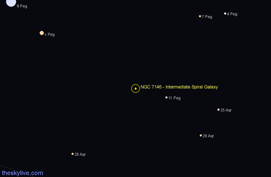 Finder chart NGC 7146 - Intermediate Spiral Galaxy in Pegasus star