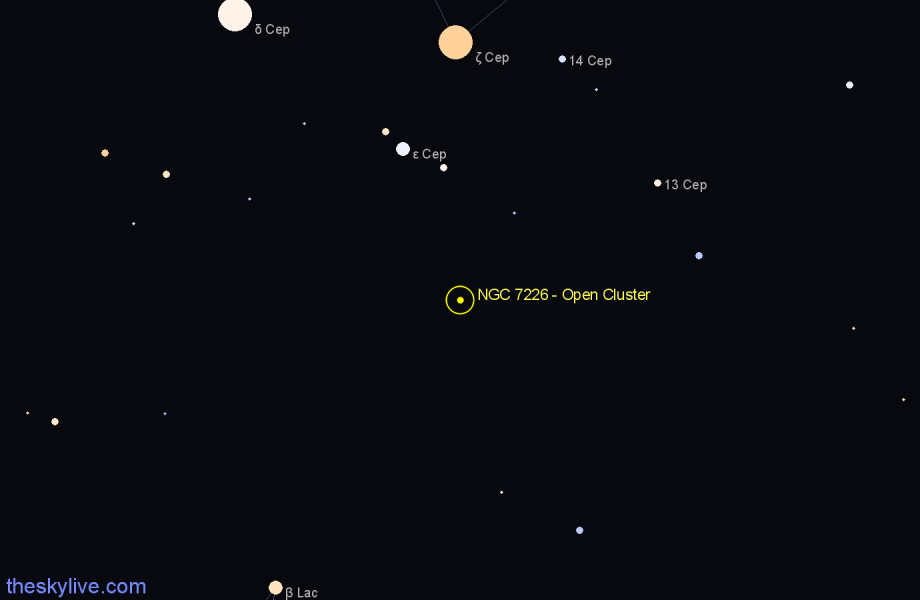 Finder chart NGC 7226 - Open Cluster in Cepheus star