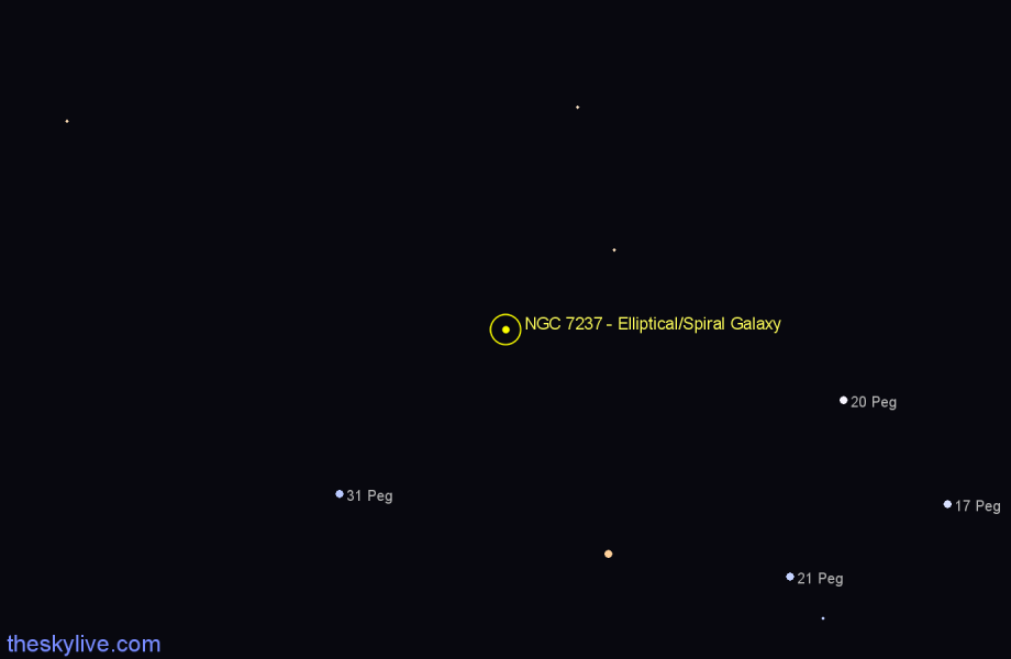 Finder chart NGC 7237 - Elliptical/Spiral Galaxy in Pegasus star
