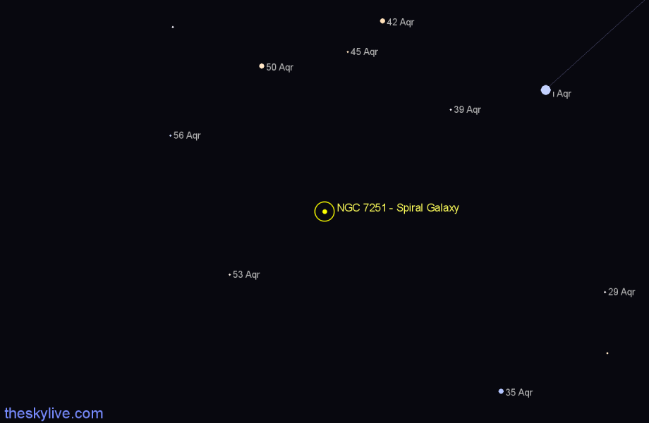 Finder chart NGC 7251 - Spiral Galaxy in Aquarius star