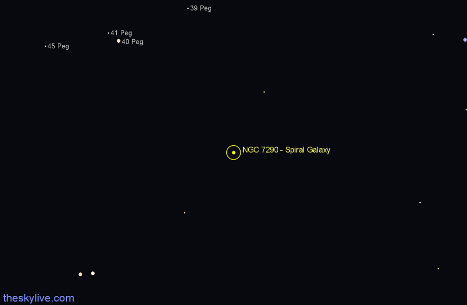 Finder chart NGC 7290 - Spiral Galaxy in Pegasus star