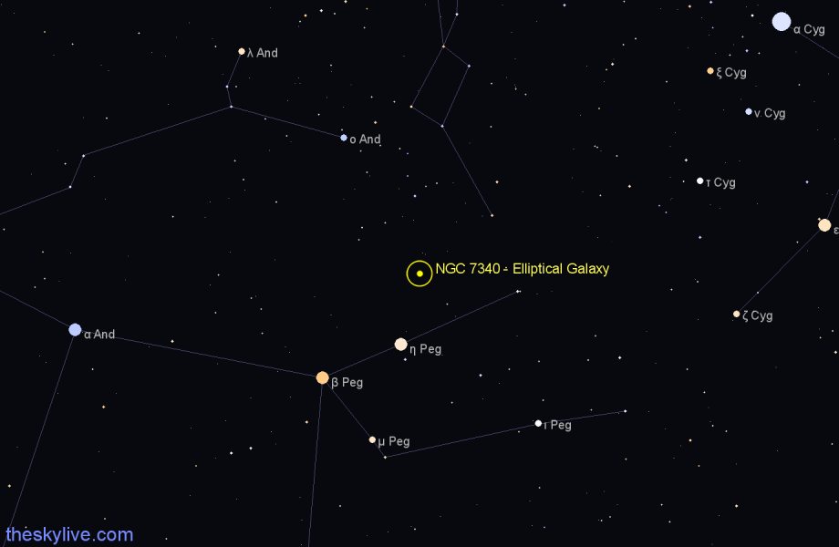 Finder chart NGC 7340 - Elliptical Galaxy in Pegasus star
