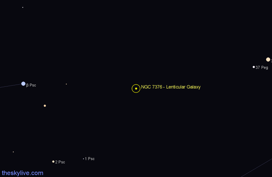Finder chart NGC 7376 - Lenticular Galaxy in Pegasus star