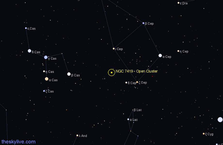 Finder chart NGC 7419 - Open Cluster in Cepheus star