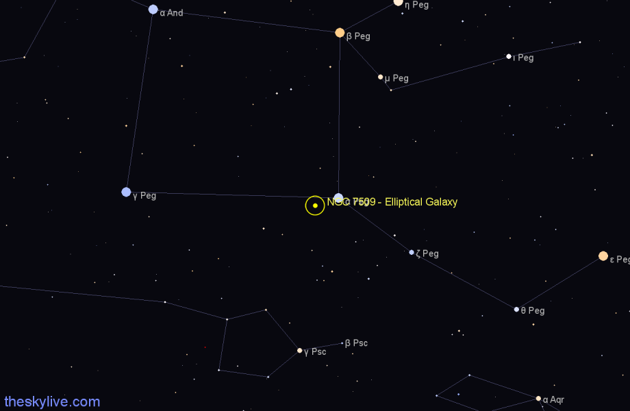 Finder chart NGC 7509 - Elliptical Galaxy in Pegasus star