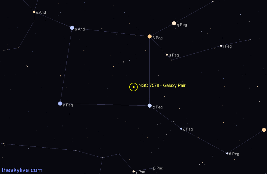 Finder chart NGC 7578 - Galaxy Pair in Pegasus star