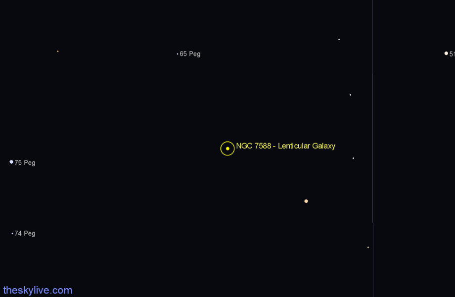Finder chart NGC 7588 - Lenticular Galaxy in Pegasus star