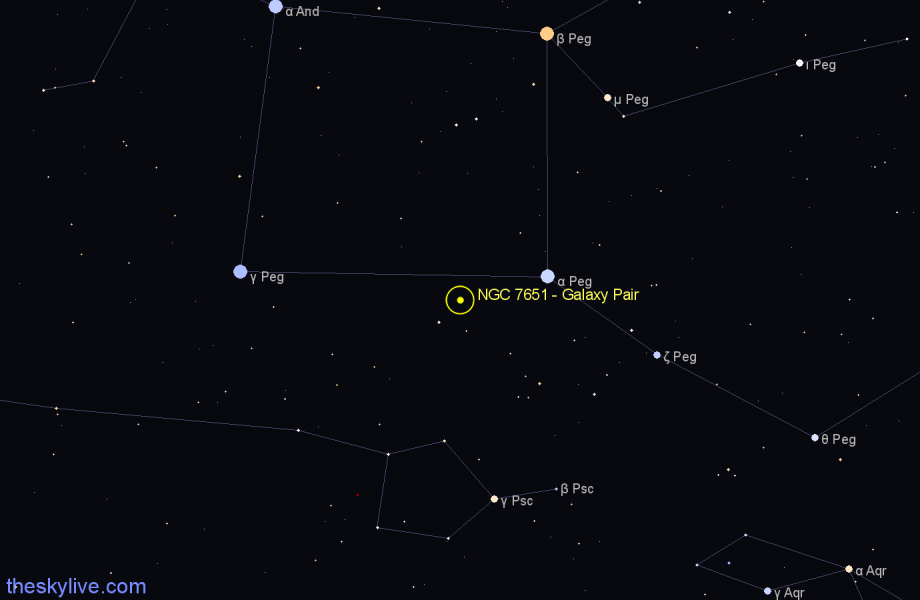 Finder chart NGC 7651 - Galaxy Pair in Pegasus star