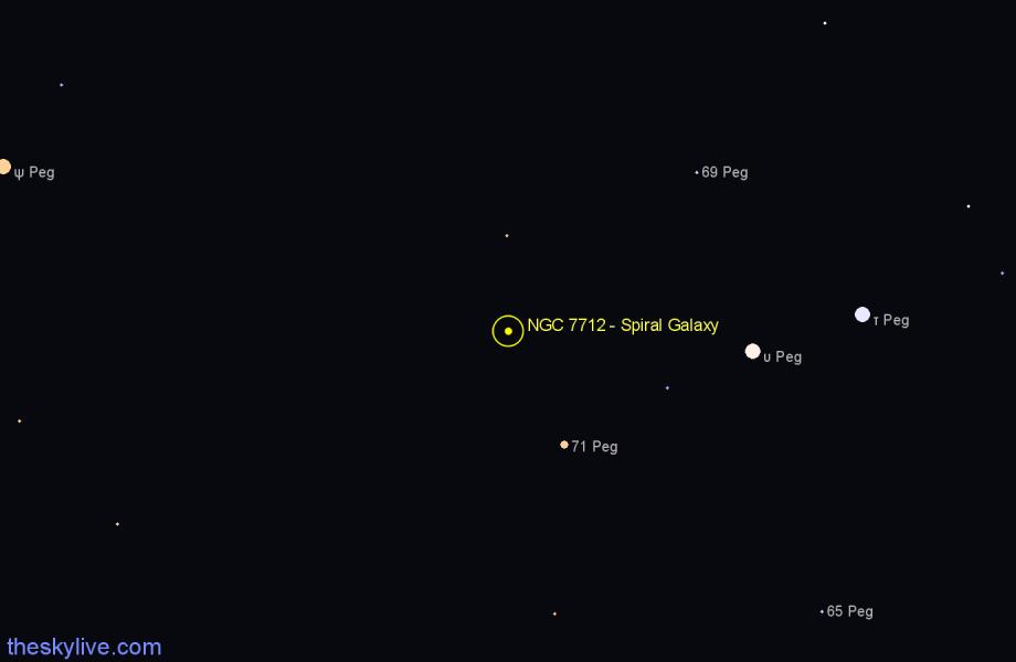 Finder chart NGC 7712 - Spiral Galaxy in Pegasus star