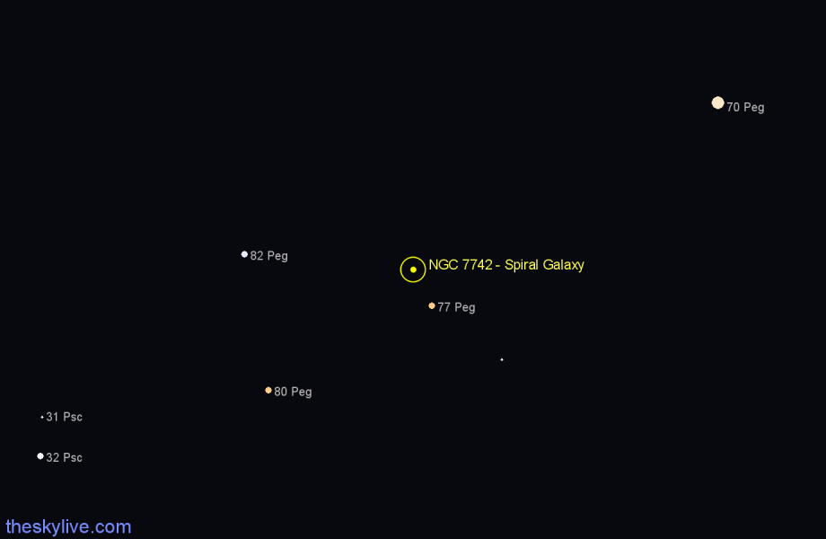 Finder chart NGC 7742 - Spiral Galaxy in Pegasus star