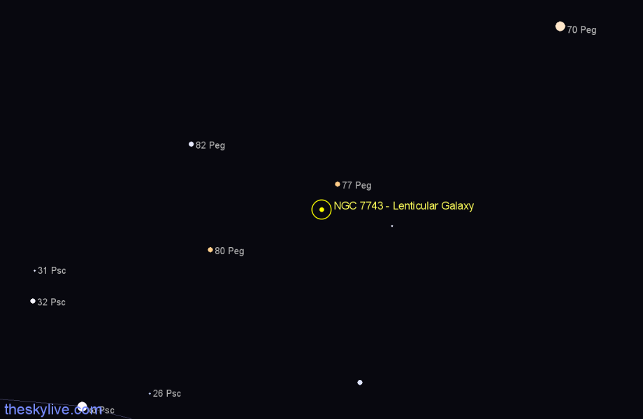 Finder chart NGC 7743 - Lenticular Galaxy in Pegasus star