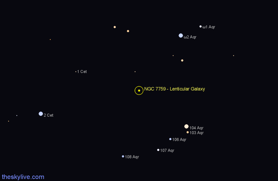 Finder chart NGC 7759 - Lenticular Galaxy in Aquarius star