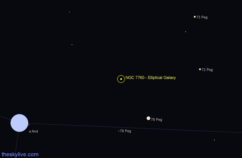 Finder chart NGC 7760 - Elliptical Galaxy in Pegasus star
