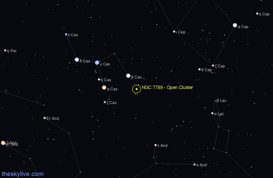 Finder chart NGC 7789 - Open Cluster in Cassiopeia star