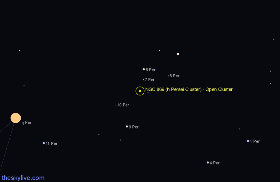 Finder chart NGC 869 (h Persei Cluster) - Open Cluster star