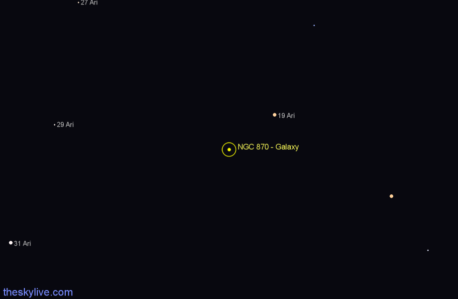 Finder chart NGC 870 - Galaxy in Aries star