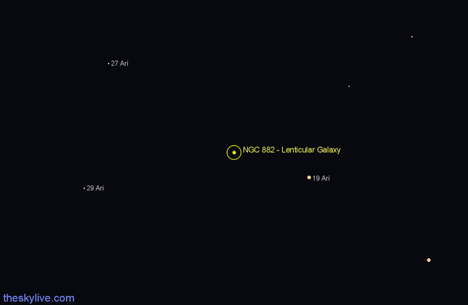 Finder chart NGC 882 - Lenticular Galaxy in Aries star