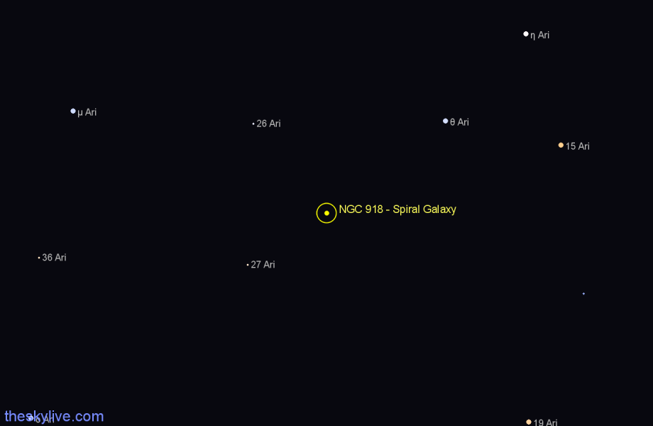 Finder chart NGC 918 - Spiral Galaxy star