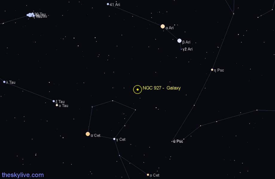 Finder chart NGC 927 -  Galaxy in Aries star