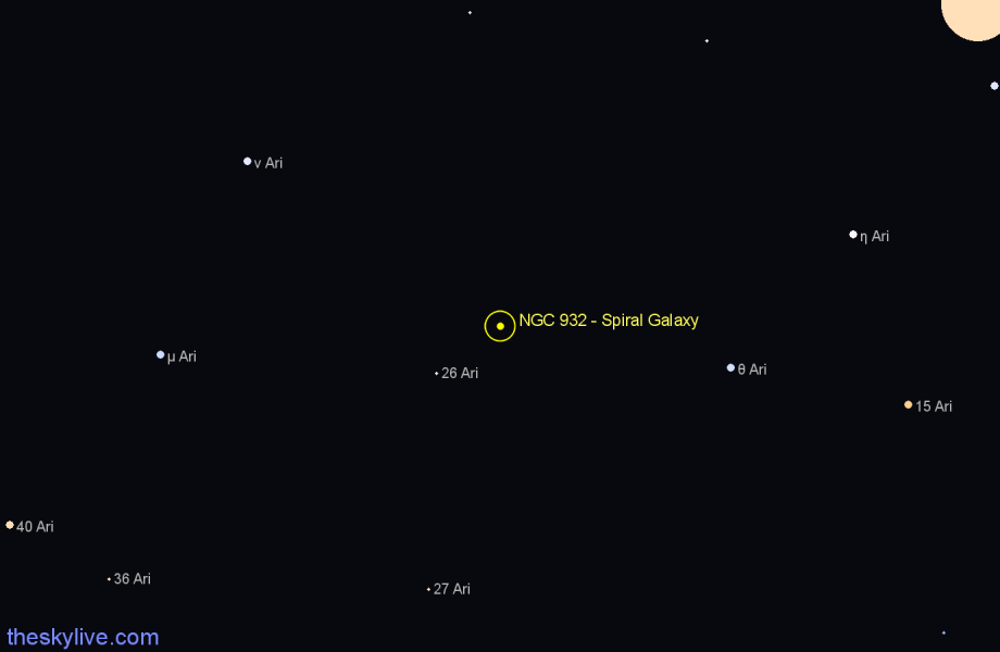Finder chart NGC 932 - Spiral Galaxy in Aries star