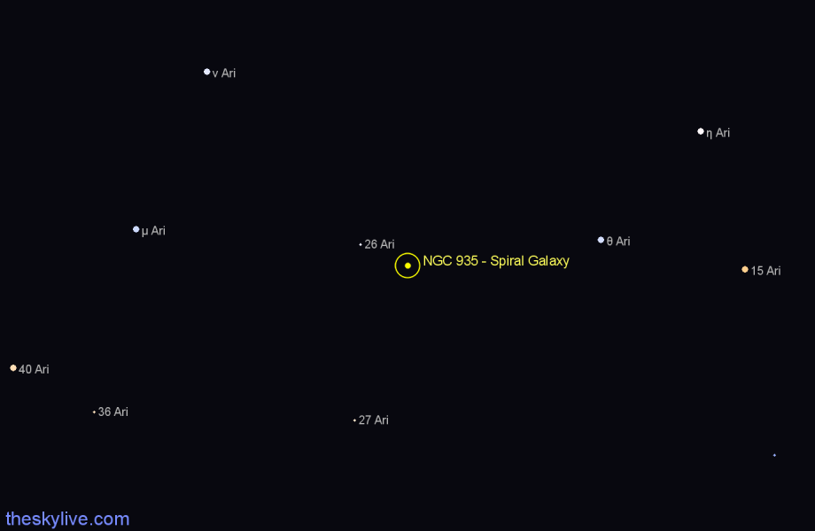Finder chart NGC 935 - Spiral Galaxy in Aries star