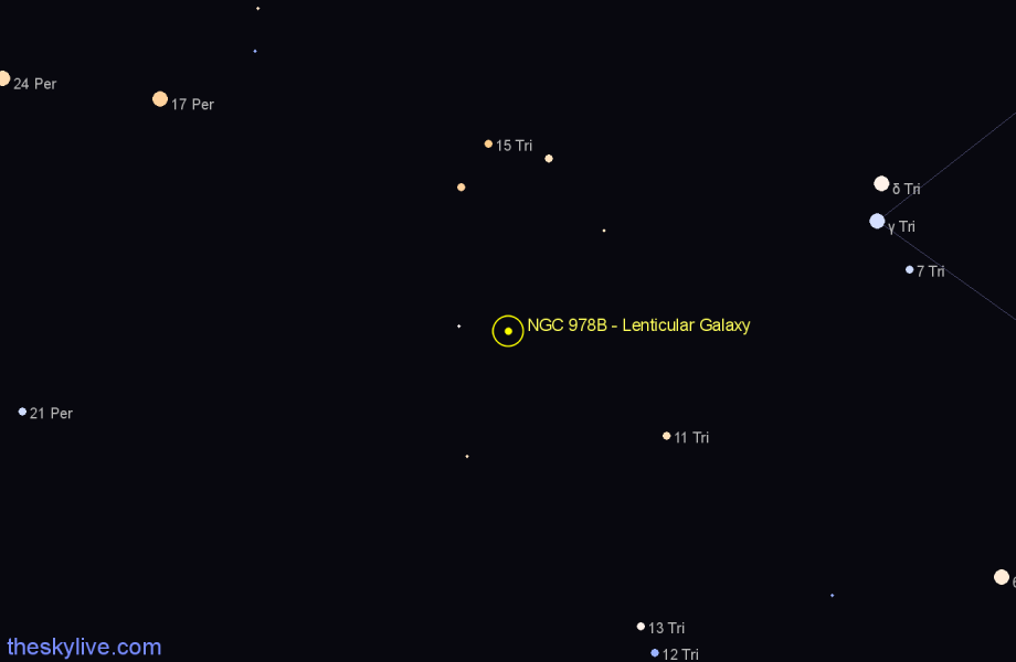 Finder chart NGC 978B - Lenticular Galaxy in Triangulum star
