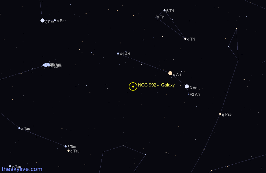 Finder chart NGC 992 -  Galaxy in Aries star
