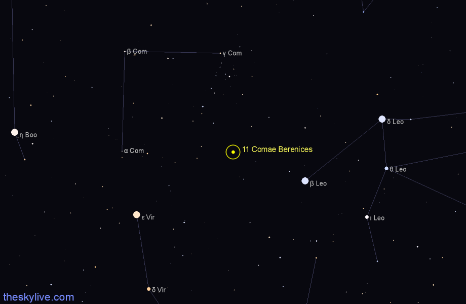 Finder chart 11 Comae Berenices star