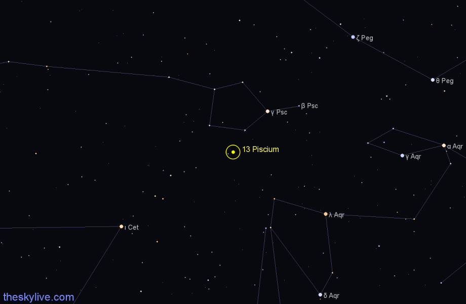 Finder chart 13 Piscium star