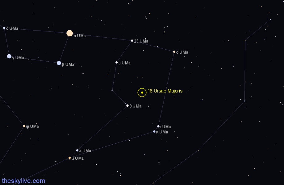Finder chart 18 Ursae Majoris star
