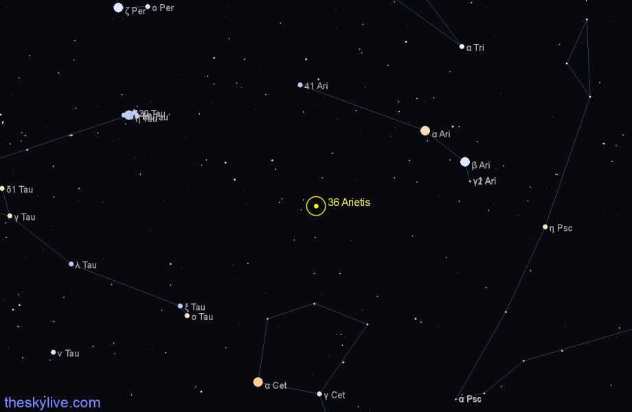 Finder chart 36 Arietis star