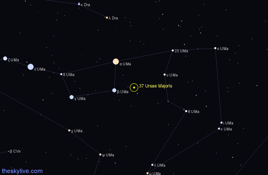 Finder chart 37 Ursae Majoris star