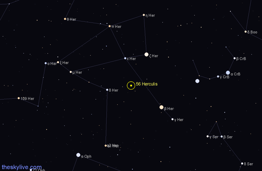 Finder chart 56 Herculis star