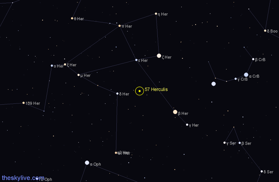 Finder chart 57 Herculis star