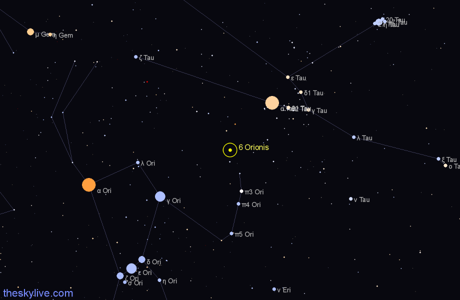 Finder chart 6 Orionis star