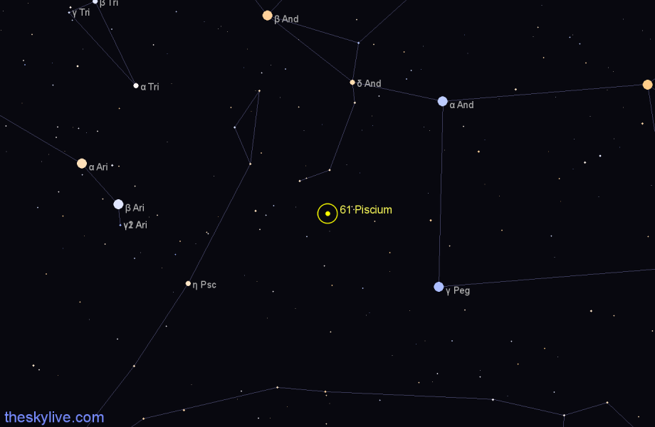 Finder chart 61 Piscium star