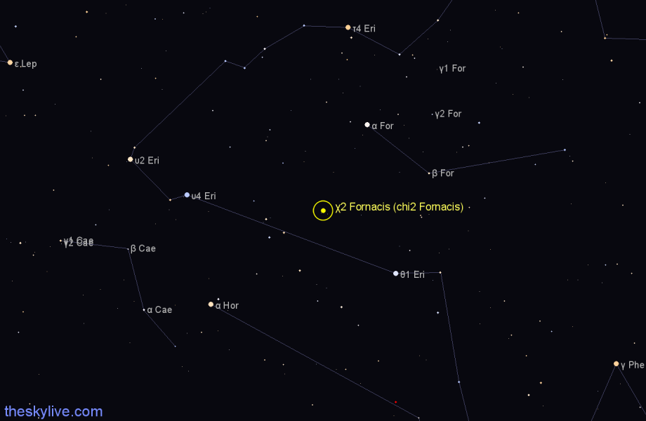 Finder chart χ2 Fornacis (chi2 Fornacis) star