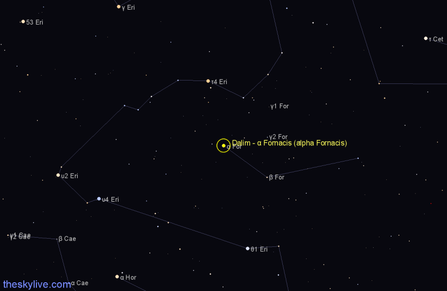 Finder chart Dalim - α Fornacis (alpha Fornacis) star
