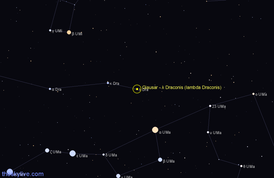 Finder chart Giausar - λ Draconis (lambda Draconis) star