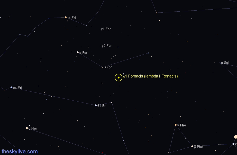 Finder chart λ1 Fornacis (lambda1 Fornacis) star