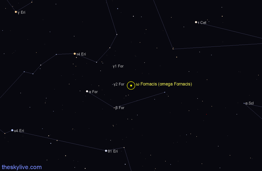 Finder chart ω Fornacis (omega Fornacis) star