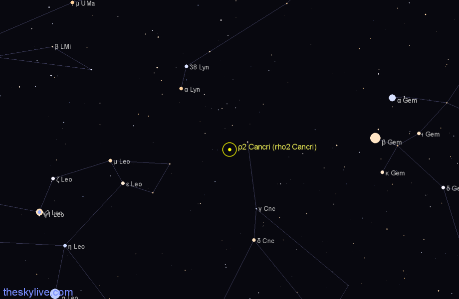 Finder chart ρ2 Cancri (rho2 Cancri) star