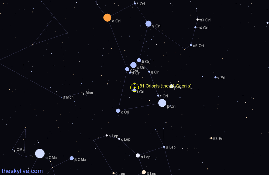 Finder chart θ1 Orionis (theta1 Orionis) star