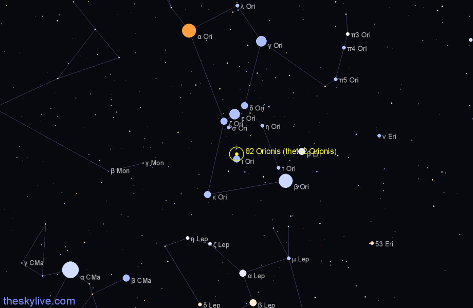 Finder chart θ2 Orionis (theta2 Orionis) star