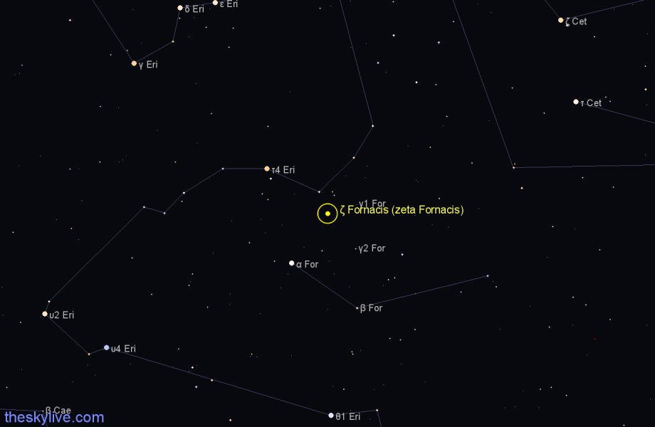 Finder chart ζ Fornacis (zeta Fornacis) star